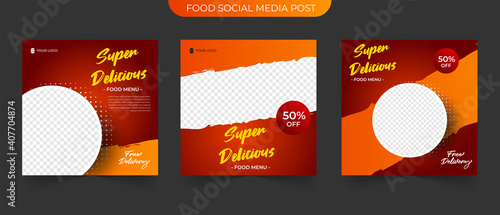 Wall mural Simple Food Instagram post template design. Suitable for Social Media Post Restaurant and culinary Promotion