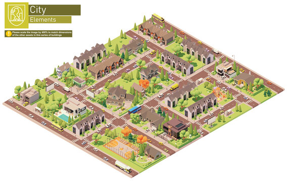 Vector isometric city suburban area block. Buildings, houses, homes, townhouses and cottages. People and transport on the streets.