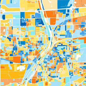 Art map of Aurora, UnitedStates in Blue Orange