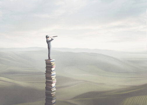 illustration of wise man with binoculars on the top of a tower of books, surreal concept
