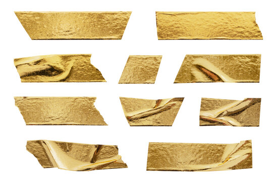 gold foil adhesive tape set collection isolated on white background
