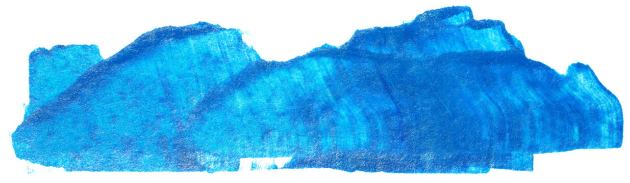 watercolor stain blue stripe brush on white background