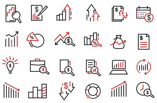 Set of Financial Analytics icon vector. contains such icon us economy, provit, financial, business, infographic and more, modern and trendy icons design. editable stroke