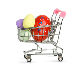 Easter eggs in a shopping cart isolated on white background