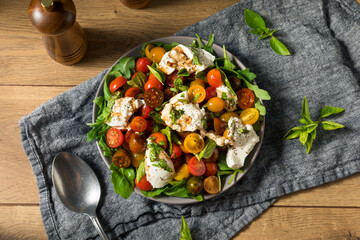 Homemade Healthy Burrata Cheese Tomato Salad
