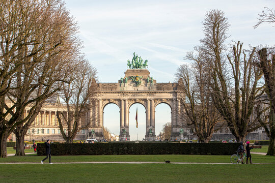 Brussels, Belgium - January 22, 2021: General view from the Parc of the arcades of the Cinquantenaire