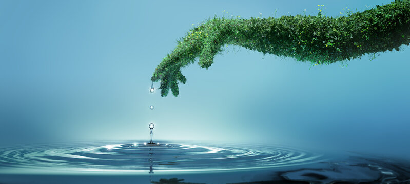 Water preserve concept, nature in shape of human hand dropping a water drop with rings and small splash