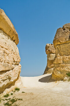 Detail of magnificent stone structures and near Goreme, Cappadocia, Anatolia, Turkey