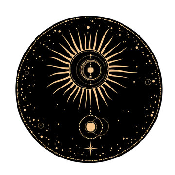 round frame with stars and sun