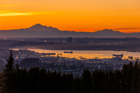 Mt Baker and The Twins at sunrise - Vancouver, BC Canada