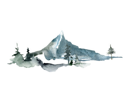 Watercolor landscape of forest and single mountain. Hand painted abstract winter fir and pine trees. Minimalistic illustrations isolated on white background. For design, print, fabric or background.