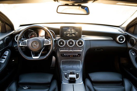 Frankfurt, Germany - September 27, 2020: Interior of new Mercedes Benz C-class.
