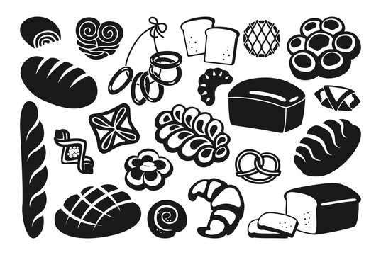 Bread black glyph icon set. Rye, whole grain and wheat loaf bread, pretzel, muffin, croissant, french baguette. Baked goods, menu bakery pastry. Vintage vector illustration