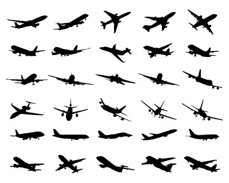 SVG Aircrafts, Black Silhouettes, Digital clipart
