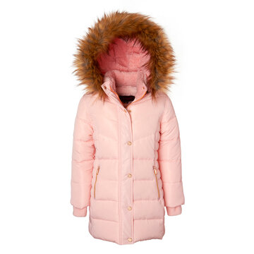 Girl's Pink Fleece Lined Long Winter Jacket Isolated on White. Stylish Dressy Puffer Coat for Girls with Adjustable with Zip-Off Detachable Sherpa Hood. Women's Hooded Warm Outwear Windproof Fabric