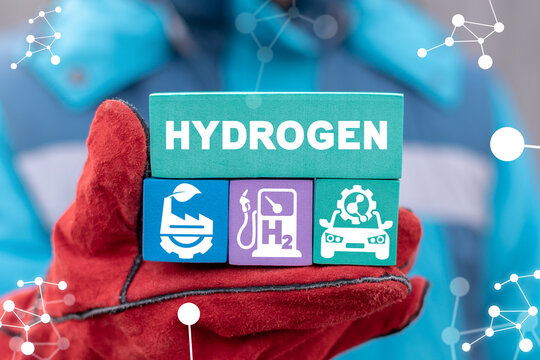 Modern industrial eco concept of green pure hydrogen production. H2 Fuel Modern Manufacturing.