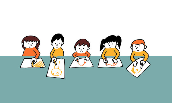 テーブルに並んでお絵描きする多様なキッズ