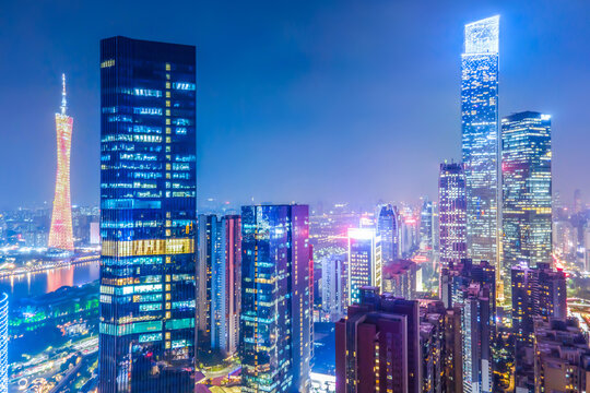 Aerial photography of Guangzhou city architecture landscape night view