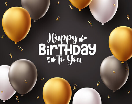 Happy birthday vector background design. Birthday greeting text in in black space with balloons and confetti elements for party celebrations and decoration. Vector illustration.