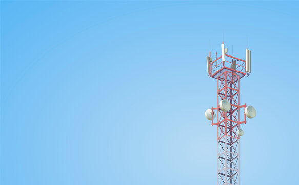 Cell tower with antennas
