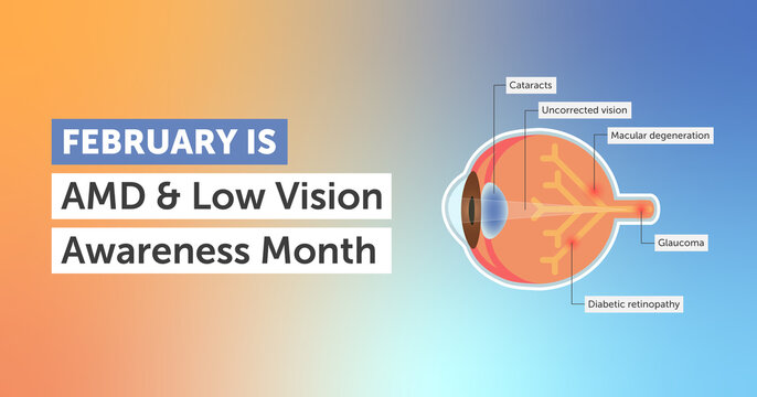 February age-related macular degeneration and low vision awareness month vector