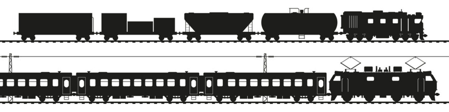 Freight train with diesel locomotive, passenger train with electric locomotive. Black silhouette isolated on white. Railway transport vector art.