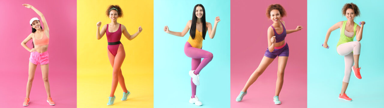 Young women doing aerobics on color background