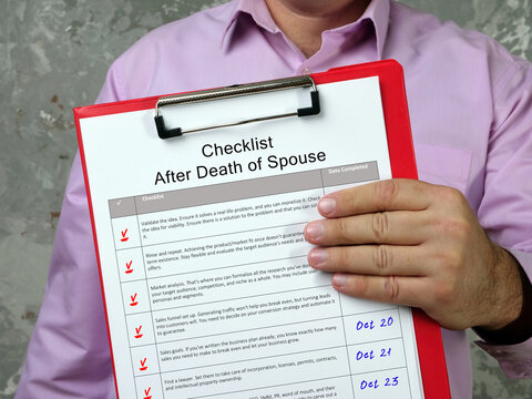 Business concept about Checklist After Death of Spouse with sign on the piece of paper.