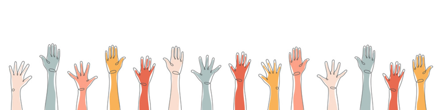 Raised hands. Teamwork, collaboration, voting, volunteering concert. Applause hand drawn. Vector illustration