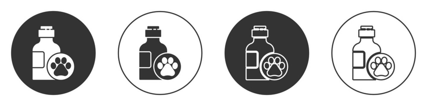 Black Pet shampoo icon isolated on white background. Pets care sign. Dog cleaning symbol. Circle button. Vector.