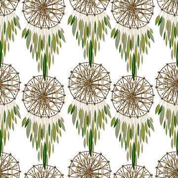 Dream catcher seamless pattern in hand drawn style vector illustration, native american poster, birthday cards, party, baby showers and greeting cards on white background
