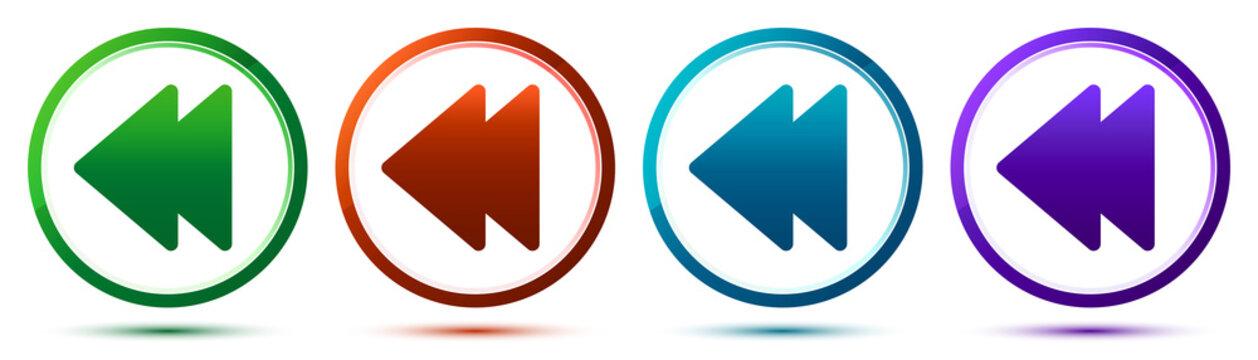 Jump backward icon artistic frame round button set illustration