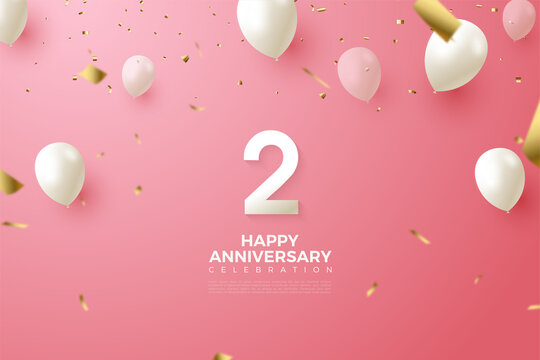 2nd Anniversary with numbers illustration and white balloons flying.