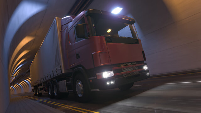 Semi Truck with a Maroon Cabin and a White Trailer Inside a Tunnel 3D Rendering