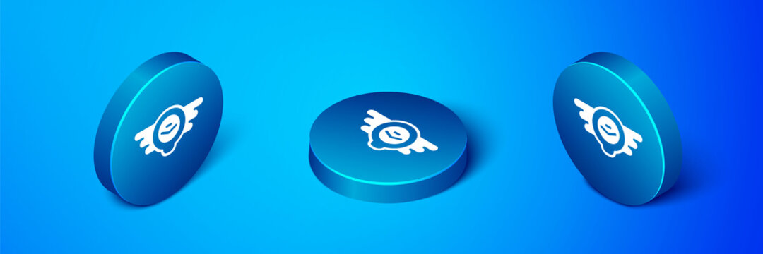 Isometric Aviation emblem icon isolated on blue background. Military and civil aviation icons. Flying emblem, eagle bird wing and winged frame. Blue circle button. Vector.