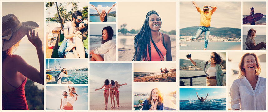 Collage Diverse beautiful happy people in summer and sea vacation, template