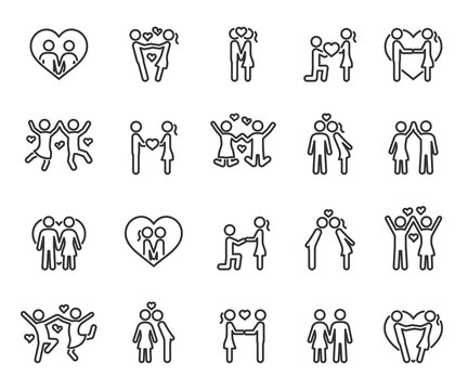 Vector set of couple in love line icons.