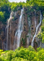 Wall Mural - Beautiful Big waterfall in Plitvice lakes national park in Croatia