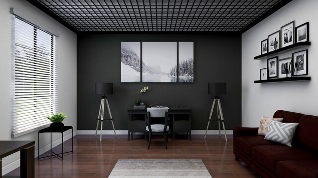 Modern home office, photorealistic 3D illustration, suitable for video conference and Zoom background.