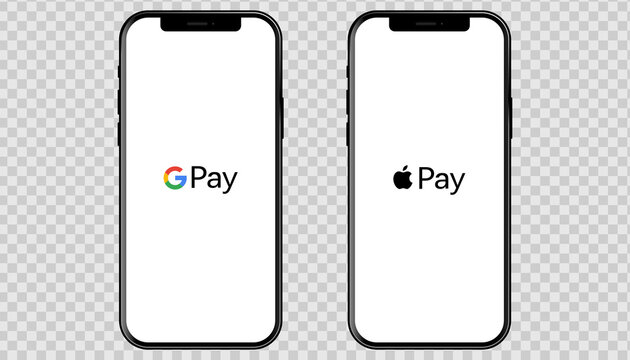Apple Iphone with popular payment systems: Apple Pay, Google Pay. Vector phone template for your banner, advertising, website. EPS 10