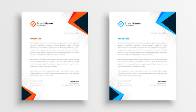 simple letterhead design set of two in geometric style