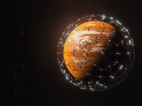 3D rendering of Unknown Planet - broadband internet system to meet the needs of consumers