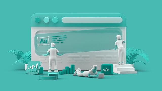 Web UI UX Design Teamwork concept 3D illustration. Team People Building Creating website User interface Front view