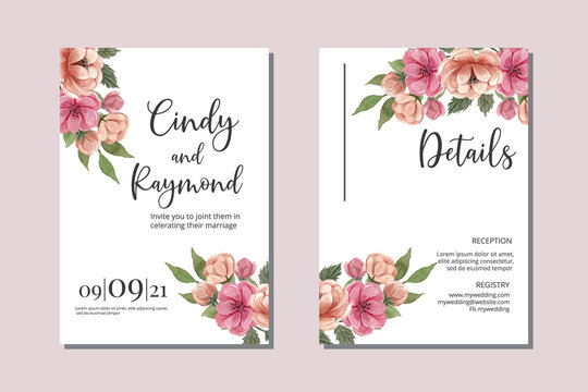 Wedding invitation floral watercolor hand drawn Flowers design Invitation Card Template Printable Size