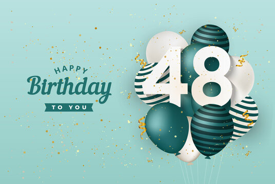 Happy 48th birthday with green balloons greeting card background. 48 years anniversary. 48th celebrating with confetti. Vector stock