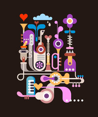 Multicolor abstract design with music instruments isolated on a black background modern art vector illustration.