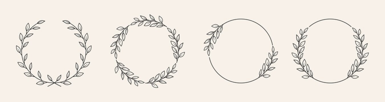 Set of black laurels frames branches with circle borders.  Hand drawn collection laurel leaves decorative elements. award, Leaves, invitation decoration, swirls, ornate. Vector icon illustration.