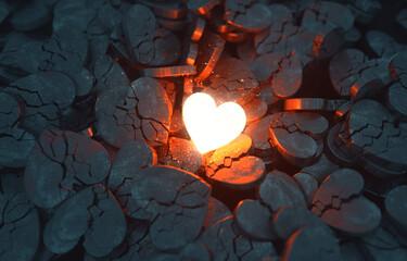 Fototapeta Glowing Heart with Broken Hearts obraz