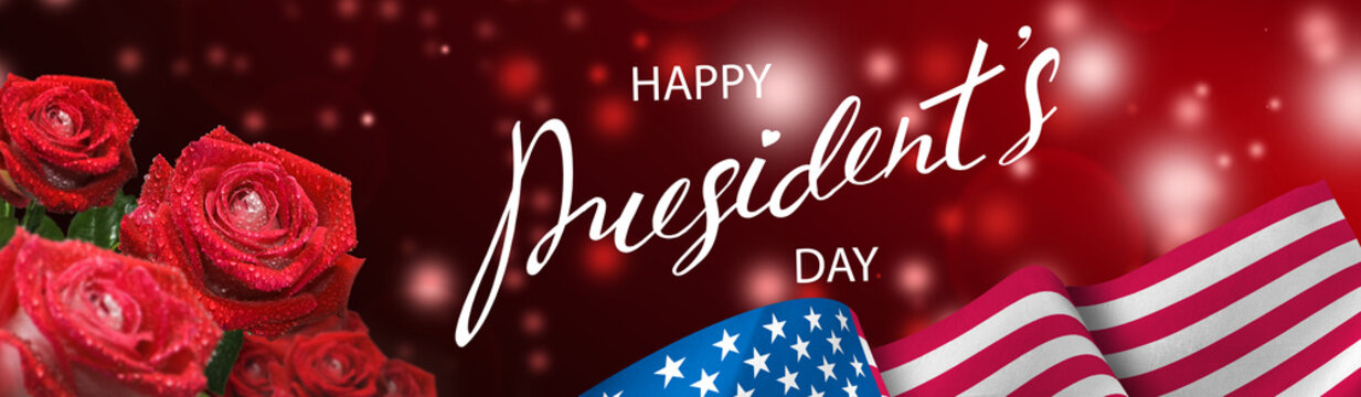 Postcard for the holiday of the President's Day with the image of the flag of America