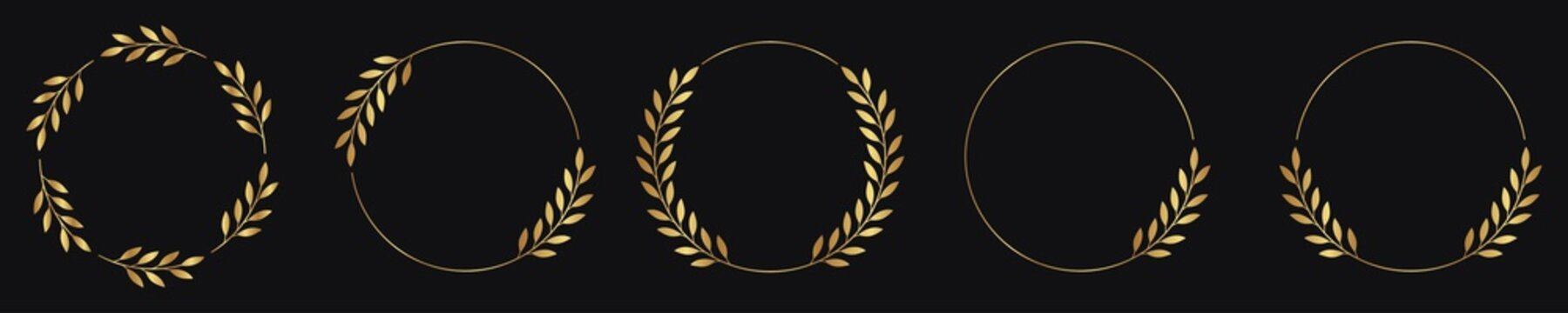 Set of laurel wreath circle borders with gold color. collection laurel leaves decorative elements. award, Leaves, invitation decoration, swirls, ornate. Vector icon illustration.